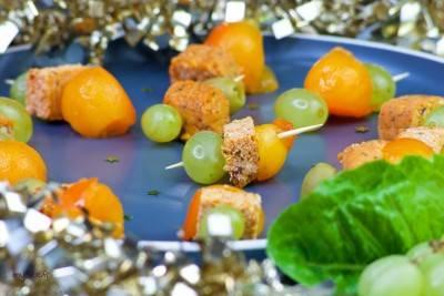 Brochettes apéritives au tofu et kaki