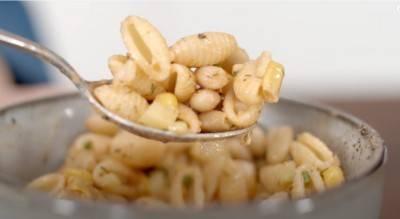 Salade de pâtes, flageolets et maïs