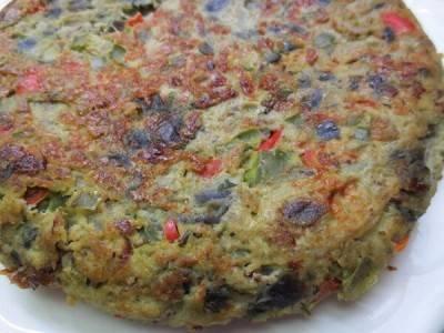 Tortilla aux poivrons et à l'aubergine