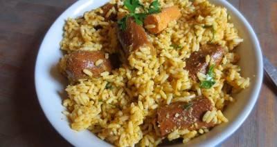 Riz à la saucisse végétale