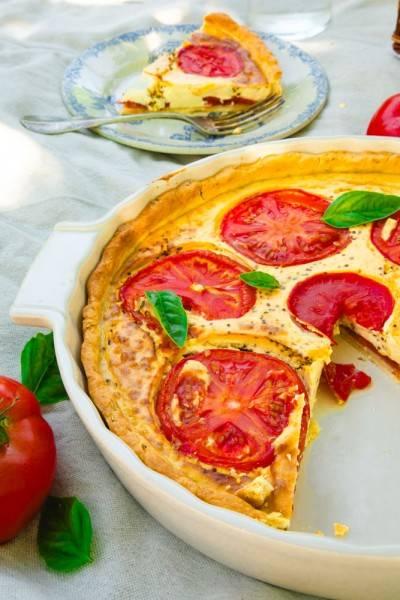 Quiche végane à la tomate