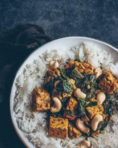 Curry de tempeh épinard - lait de coco