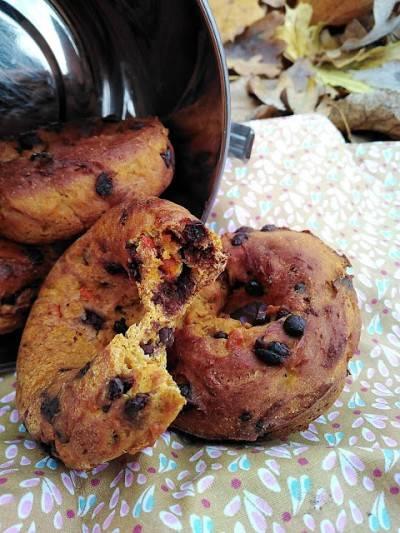 Donuts au potimarron, 4 épices et chocolat