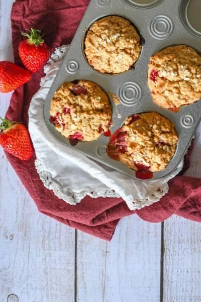 Muffins végans fraise - chocolat blanc