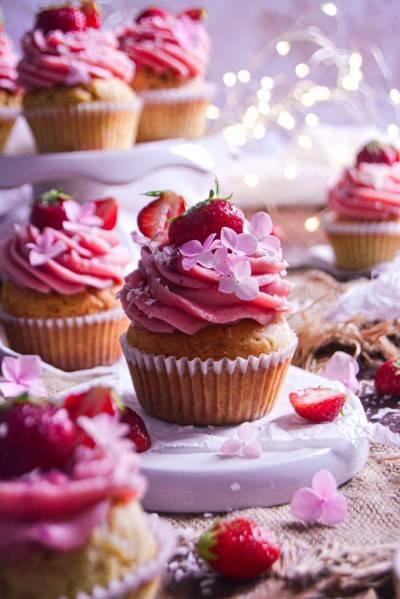 Cupcake végan à la fraise