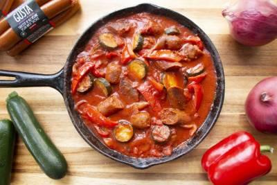 Casserole de saucisses véganes aux légumes