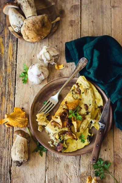 Omelette végétalienne aux champignons