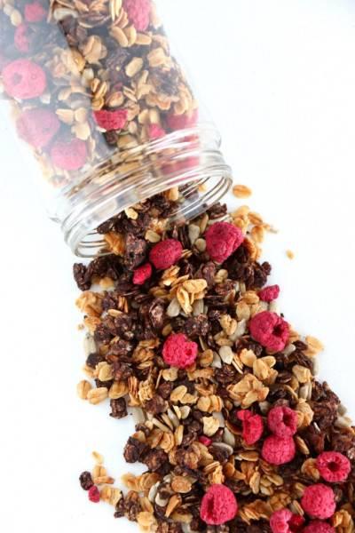 Granola sans sucre cacao-framboise