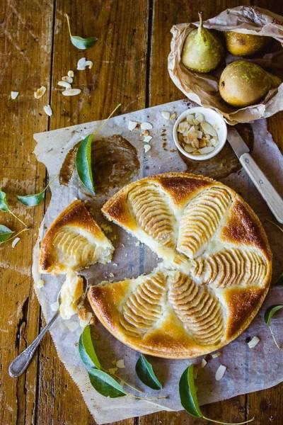 Tarte poire et crème d'amande végane