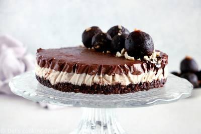 Cheesecake chocolat sur base noix de cajou et dattes