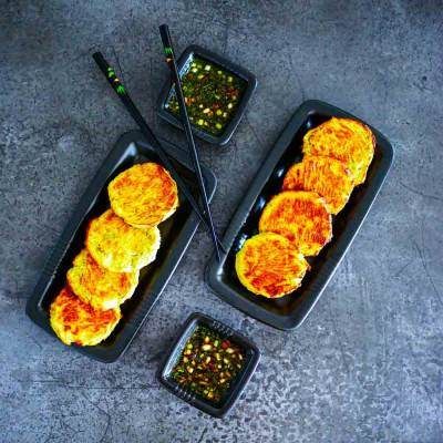 Croquettes pois cassés & poireaux, sauce thaïe
