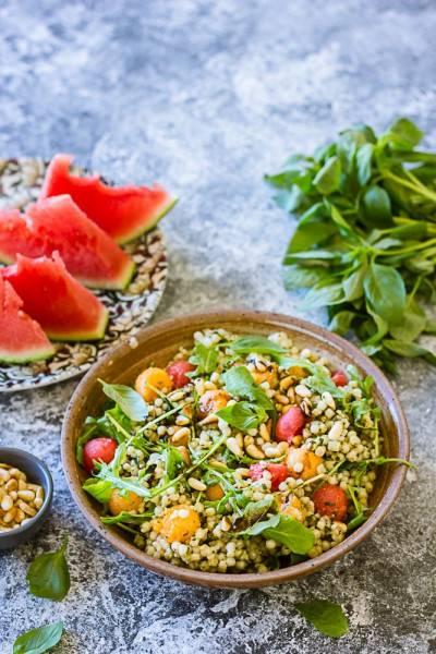 Salade estivale melon, pastèque et basilic