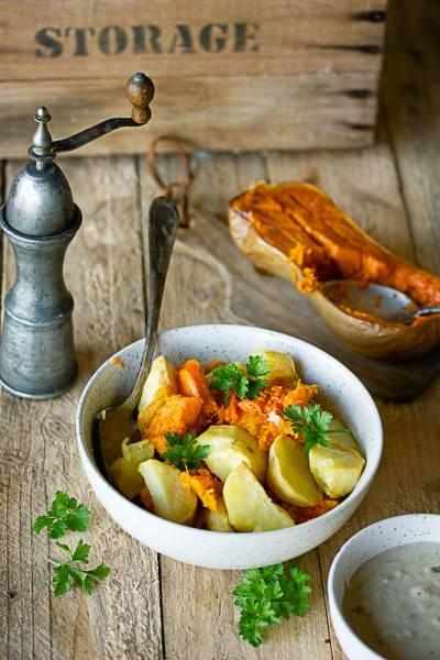 Pommes de terre et butternut rôties sauce échalote