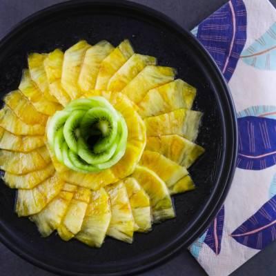 Carpaccio de fruits et sirop pomme-chaï