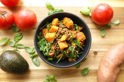 Salade tiède de lentilles et patates douces