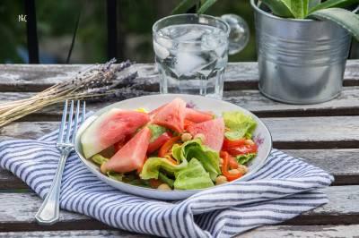 Salade pastèque et poivrons grillés